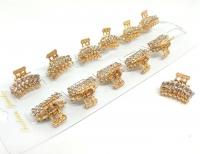 №10210 Краб метал золото камни 12шт
