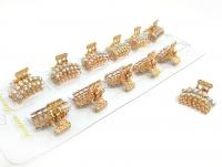 №10213 Краб метал золото камни 12шт