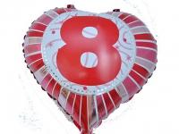 №11269 fed_ Фольга Сердечко с цифрой 8 (красное) 45х45см.