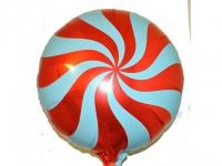 №11346 fed_ Фольга круг спираль красная 45х45см