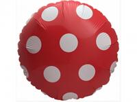 №11388 fed_ Фольга круг горошек красный 45х45см