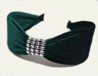 №6156 Обруч велюр камни зеленый